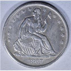 1867-S SEATED HALF DOLLAR  AU
