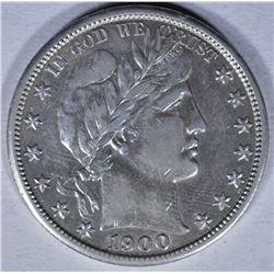 1900-S BARBER HALF DOLLAR  AU+