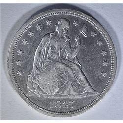 1847 SEATED DOLLAR  AU+