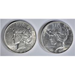 1922-D & 23-D PEACE DOLLARS AU/BU