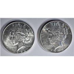 1922-S & 23-S PEACE DOLLAR AU/BU