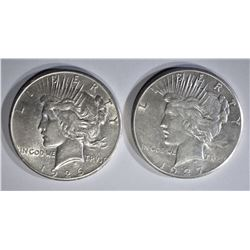 1926 & 27 PEACE DOLLARS XF/AU