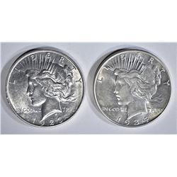 1923-D AU & 1934 AU/BU PEACE DOLLARS