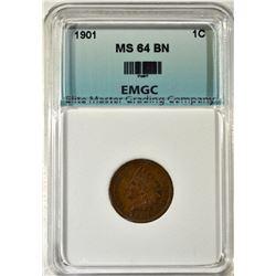 1901 INDIAN CENT, EMGC CH/GEM BU BN