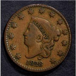 1828 LARGE CENT, F/VF