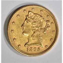 1895 $5.00 GOLD LIBERTY, AU/UNC
