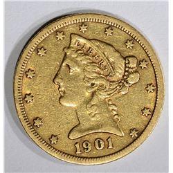 1901-S $5.00 GOLD LIBERTY, XF