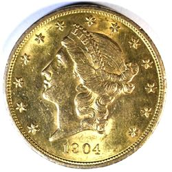 1904 $20.00 GOLD LIBERTY, XF/AU