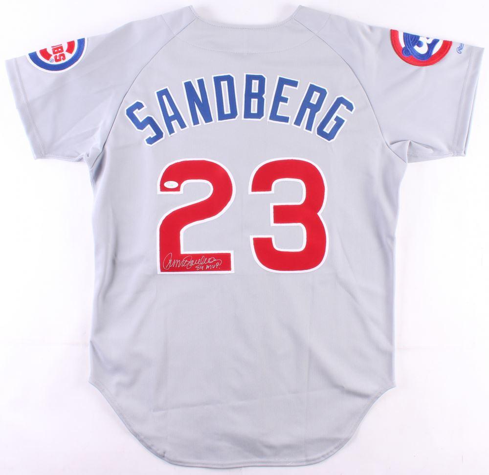 huge discount 47204 d4448 Ryne Sandberg Signed Cubs Jersey Inscribed