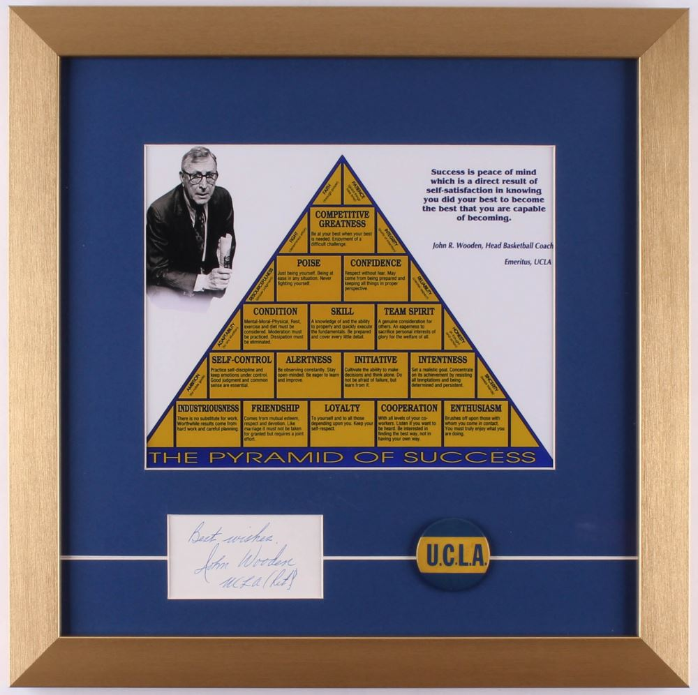 John Wooden Signed The Pyramid Of Success 16x16 Custom