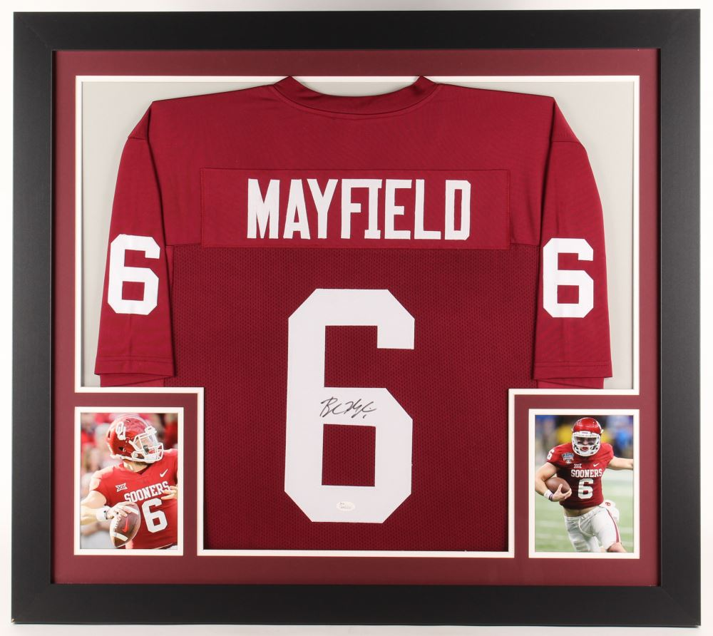 best loved 85ab9 812e0 Baker Mayfield Signed Oklahoma Sooners 31x35 Custom ...