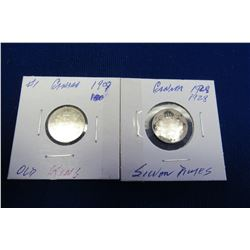 1909 & 1928 OLD KING GEORGE IV CANADIAN SILVER DIMES