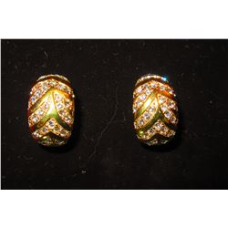 GOLD TEXTURED EARRINGS WITH CZ ACCENTS