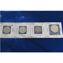 STOCK ROW OF JAPAN, SWITZERLAND, SOUTH AFRICA, AND SWEDEN SILVER COLLECTIBLE WORLD COINS