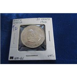 1963 SOUTH AFRICA UNCIRCULATED 20 CENT SILVER COIN