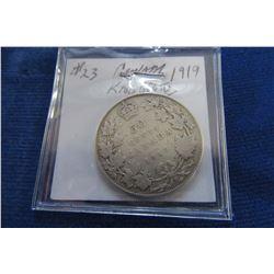 1919 CANADIAN KING GEORGE V SILVER HALF DOLLAR