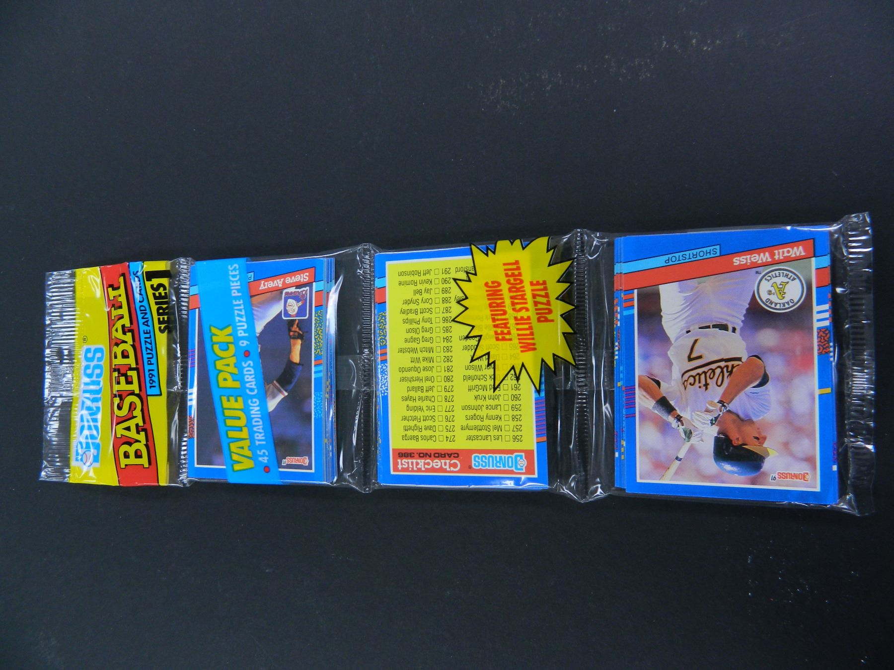 Three 3 1991 Donruss Baseball Series I Rack Packs 45 Cards And 9
