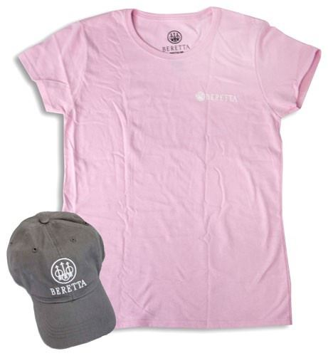 Beretta Women S Cap T Shirt 2x Lg Roll Up Combo Grey Pink