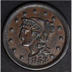 1853 LARGE CENT  BU