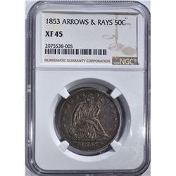 1853 ARROWS/RAYS SEATED 50c NGC XF45