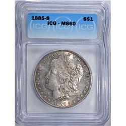 1885-S MORGAN DOLLAR ICG MS60