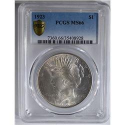1923 PEACE DOLLAR PCGS MS66