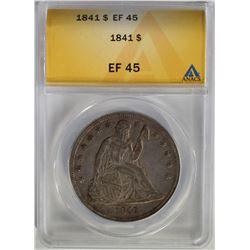 1841 SEATED DOLLAR ANACS EF45 NICE