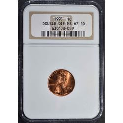 1995 LINCOLN CENT DOUBLE DIE  NGC MS 67 RED