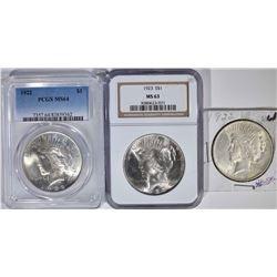 3 PEACE DOLLARS:  1922 PCGS MS 64,