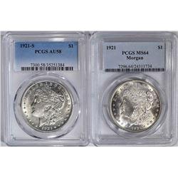 2 PCGS MORGAN DOLLARS:  1921 MS 64 &