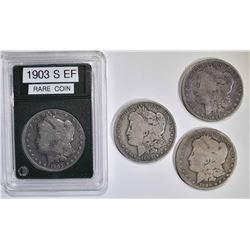 4 MORGAN DOLLARS:  1903-S VG, 1890-O VG,