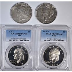 LOT:  2- 1922 PEACE DOLLARS AU;