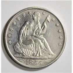 1855-O WITH ARROWS SEATED HALF, CH BU