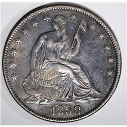 1858 SEATED LIBERTY HALF DOLLAR, AU/BU
