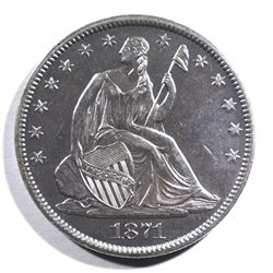 1871-S SEATED LIBERTY HALF DOLLAR CH/BU