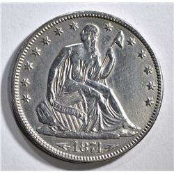 1874 ARROWS SEATED HALF DOLLAR, XF