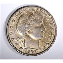 1901-S BARBER HALF DOLLAR, VF/XF KEY COIN