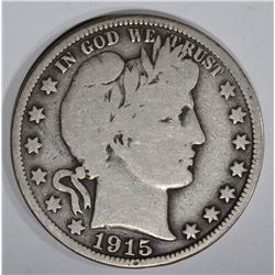 1915 BARBER HALF DOLLAR, CHOICE VG+