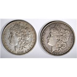 1878 7TF XF & 1889 XF/AU MORGAN DOLLARS