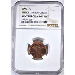 2000 MINT ERROR LINCOLN CENT, NGC MS-66 RED