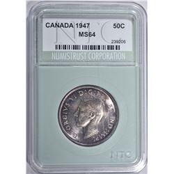 1947 SILVER CANADA 50 CENTS  NTC CH BU
