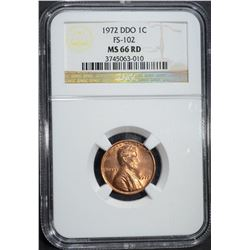 1972 DDO LINCOLN CENT NGC MS 66 RD