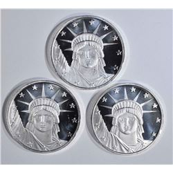 3-LIBERTY ONE OUNCE .999 SILVER ROUNDS