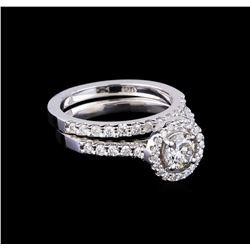 1.23 ctw Diamond Wedding Ring Set - 14KT White Gold