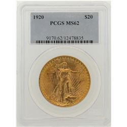 1920 $20 St. Gaudens Double Eagle Gold Coin PCGS MS62