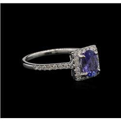 0.78 ctw Tanzanite and Diamond Ring - 14KT White Gold