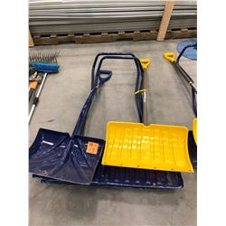 "3 Grant Snow Shovels, 18"", 20 3/4"" with steel lip & 36"""