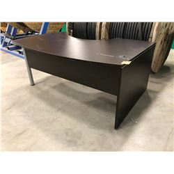 "Brown Office Desk 70 3/4"" x 48"" x 29 1/2"" top surface has scratches & nicks, Brown Office Desk adder"
