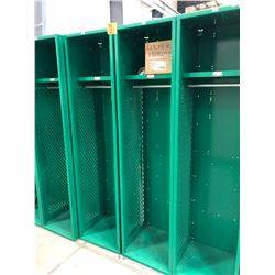 "Penco Green Lockers (x4) - 18"" x 72"" x 18"", 1-shelf, 1-coat hanger rod and 2-hooks This lot has extr"