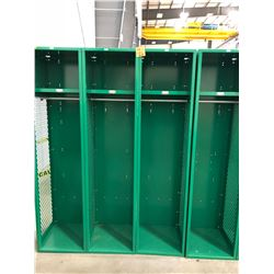 "Penco Green Lockers (x4) - 18"" x 72"" x 18"", 1-shelf, 1-coat hanger rod and 2-hooks"